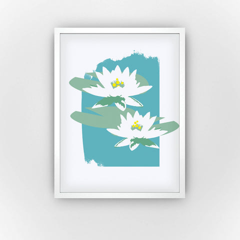 Fine Art Bureau - White Water Lily - Two graphic white water lilys/lotus flowers with green leaves and yellow bubbles in front of turquoise background - Quality fine art pigment print with white frame