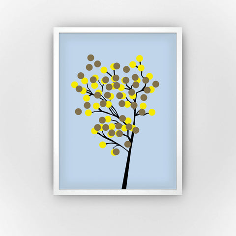 Fine Art Bureau - Lemon Tree - Graphic tree with black branches and little yellow and brown bubbles as leaves, blossoms or fruits in front of  light blue background  - Quality fine art pigment print with white frame