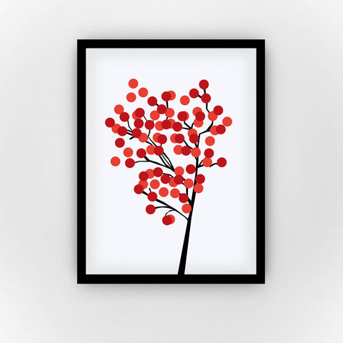 Fine Art Bureau - Cherry Tree - Graphic tree with black branches and little red and light red bubbles as leaves, blossoms or fruits in front of  white background  - Quality fine art pigment print with black frame