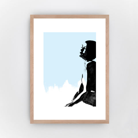 Fine Art Bureau - Dreaming Blue - Black ink drawing of dreaming woman with upper body, face and hands  in front of light blue background - Quality fine art pigment print with beech wood frame
