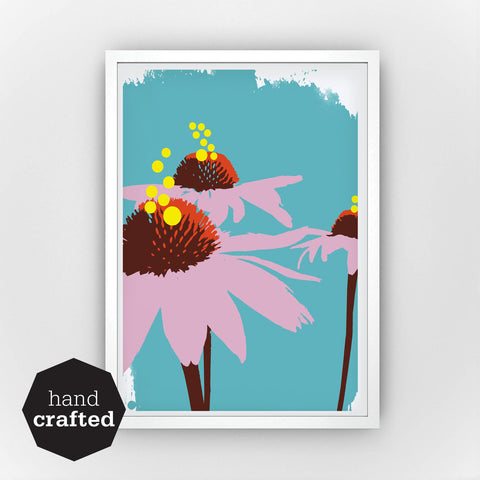 Fine Art Bureau - Coneflowers - Three coneflowers in front of turquoise background - Quality Screen print with white frame by Mascha Rose