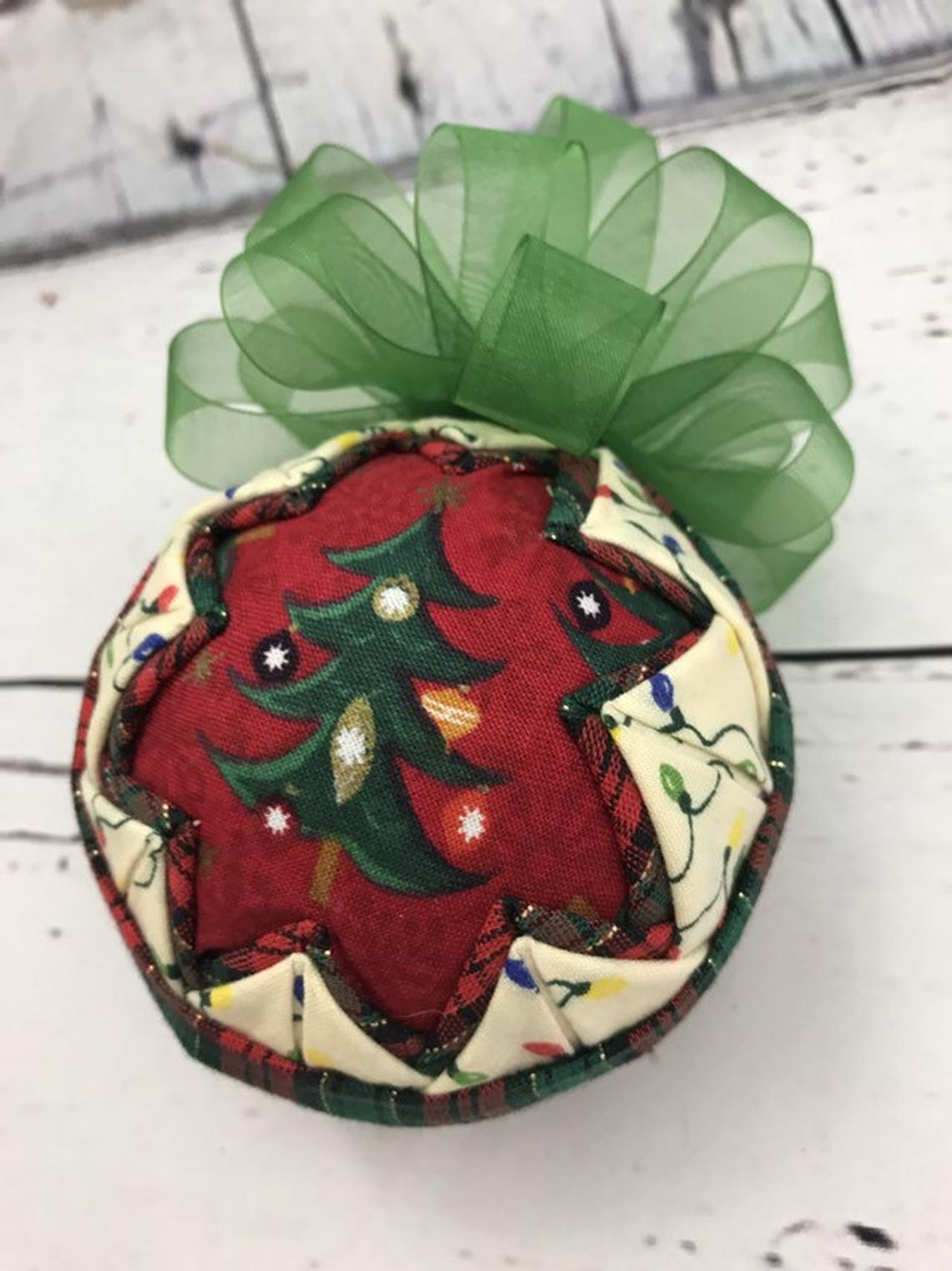 Christmas Tree Lights Fabric Quilted Ornament