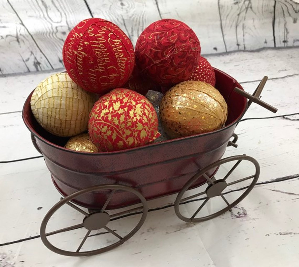 Red and Gold Fabric Wrapped Christmas Bowl Filler Balls