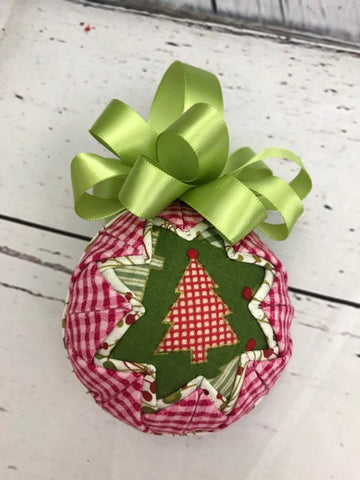 Primitive Red Checked Christmas Tree Ornament