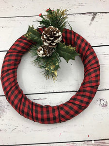 Red and Black Buffalo Check Christmas Farmhouse Wreath