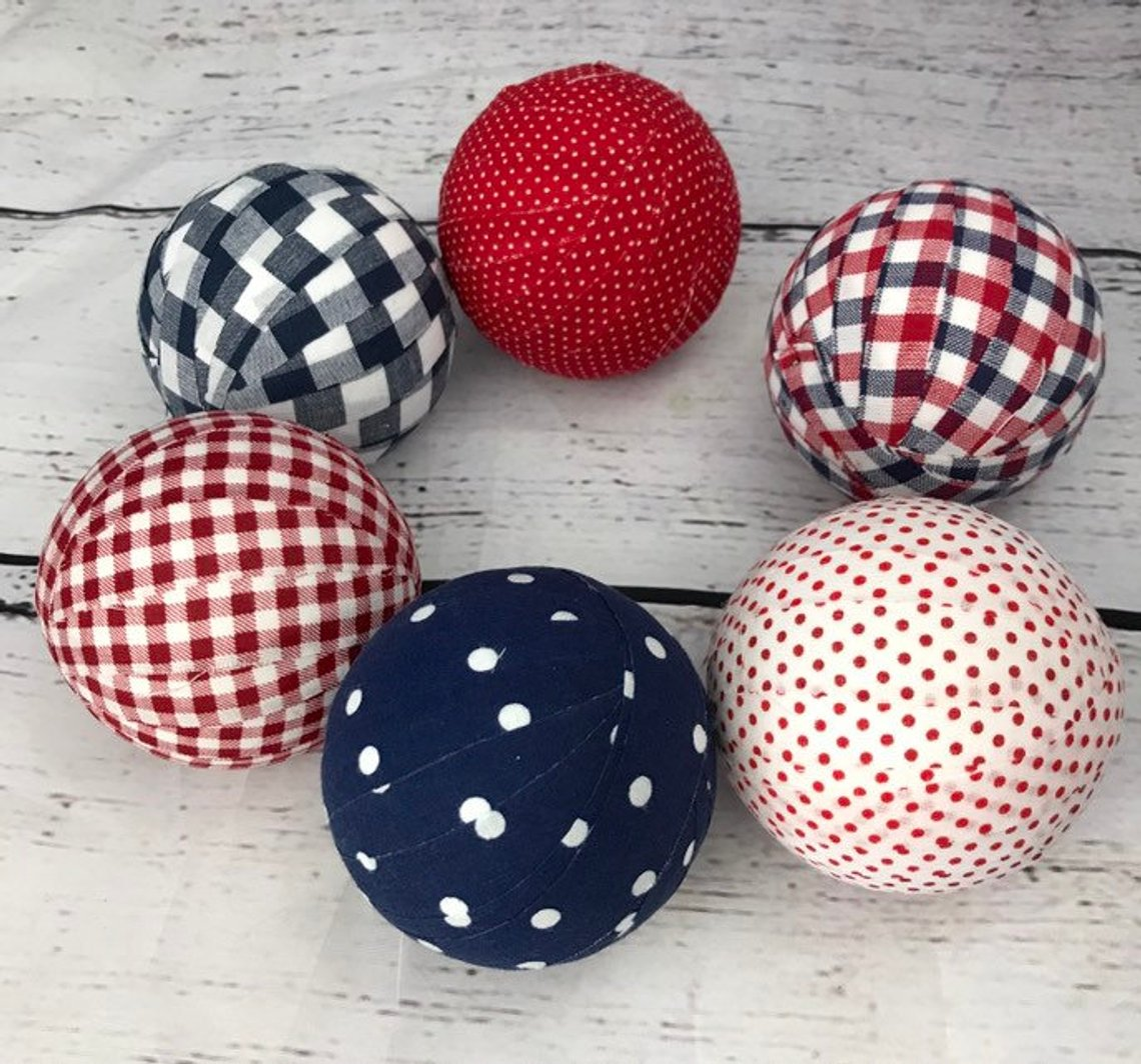 Patriotic Plaids and Polka Dots Fabric Wrapped Balls