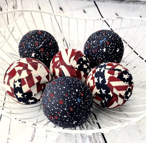 Old Glory Patriotic Fabric Ball Bowl Filler Orbs Set