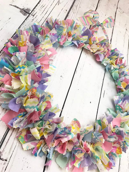 Pastel easter rag tie wreath