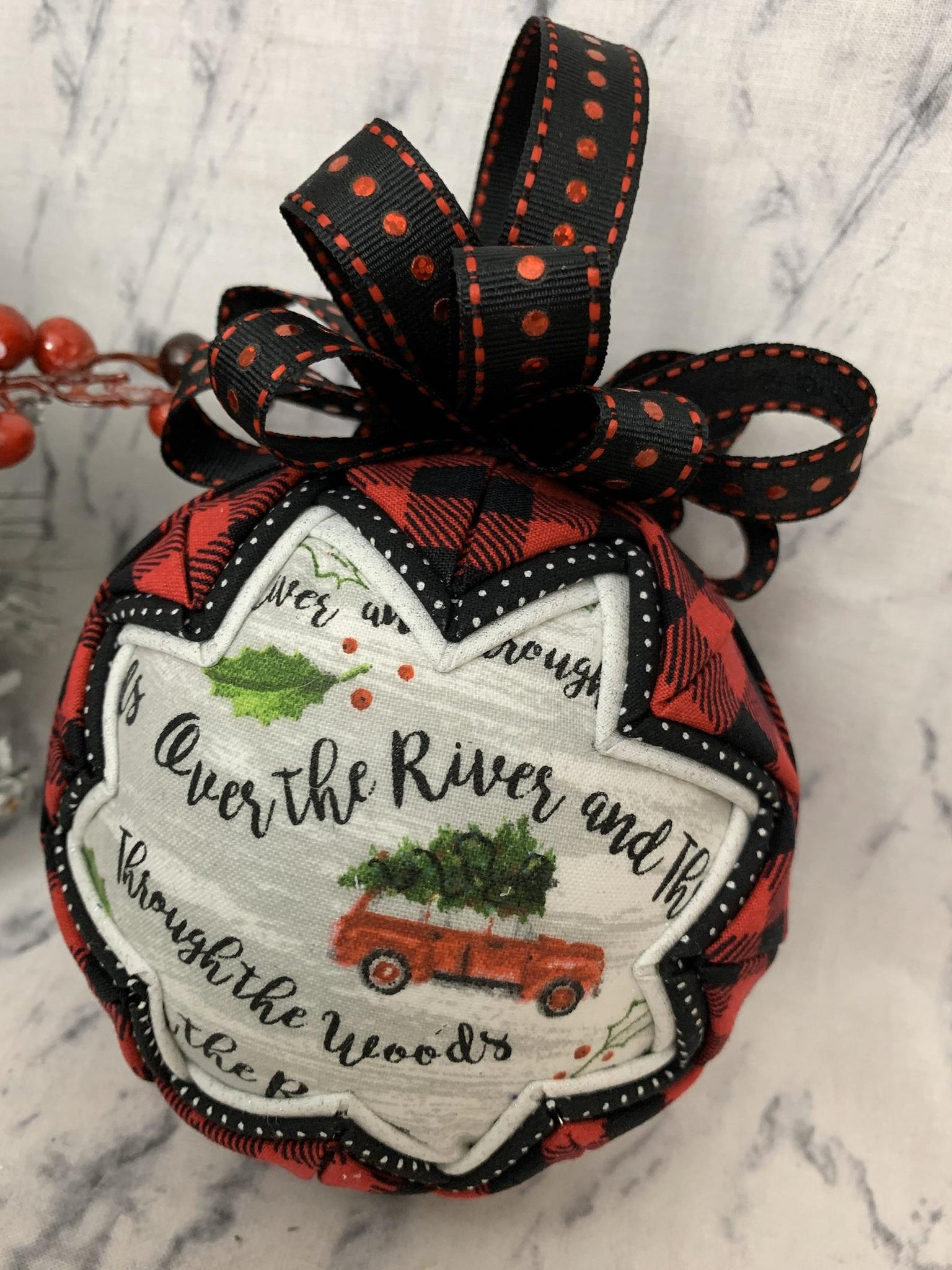 Farmhouse Red Truck Over The River Through The Woods Fabric quilted Christmas ornament