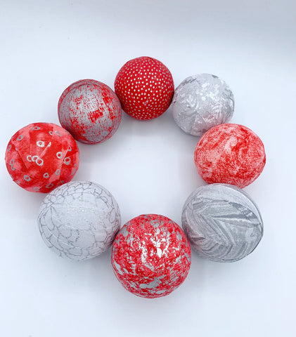 Red and Silver fabric wrapped balls- holiday set of bowl fillers