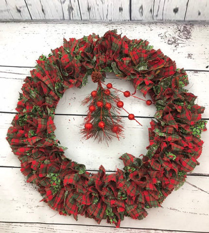 Christmas Forrest fabric rag tie Christmas door wreath