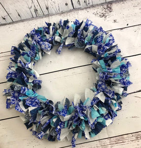Midnight Snow Rag Tie Winter Wreath