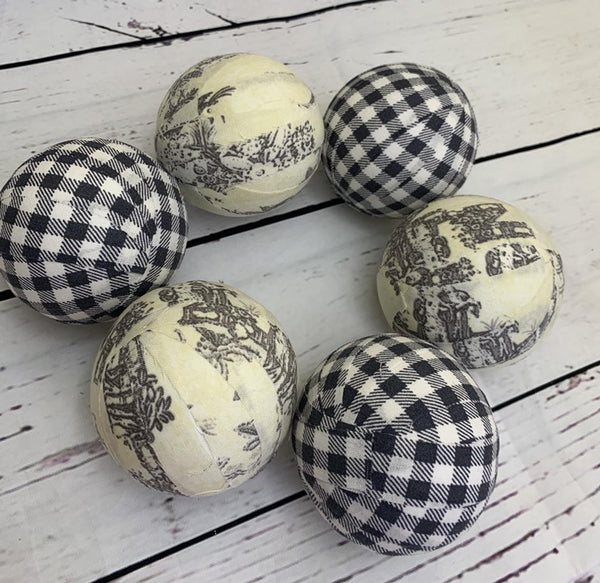 Grey plaid check and toile fabric wrapped balls- bowl fillers