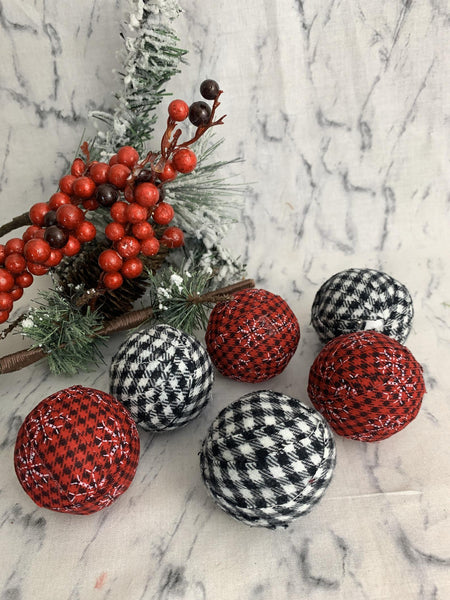 "Buffalo Check combination 2"" Red and BLack White Fabric Wrapped Bowl fIller Balls - set Of Six"