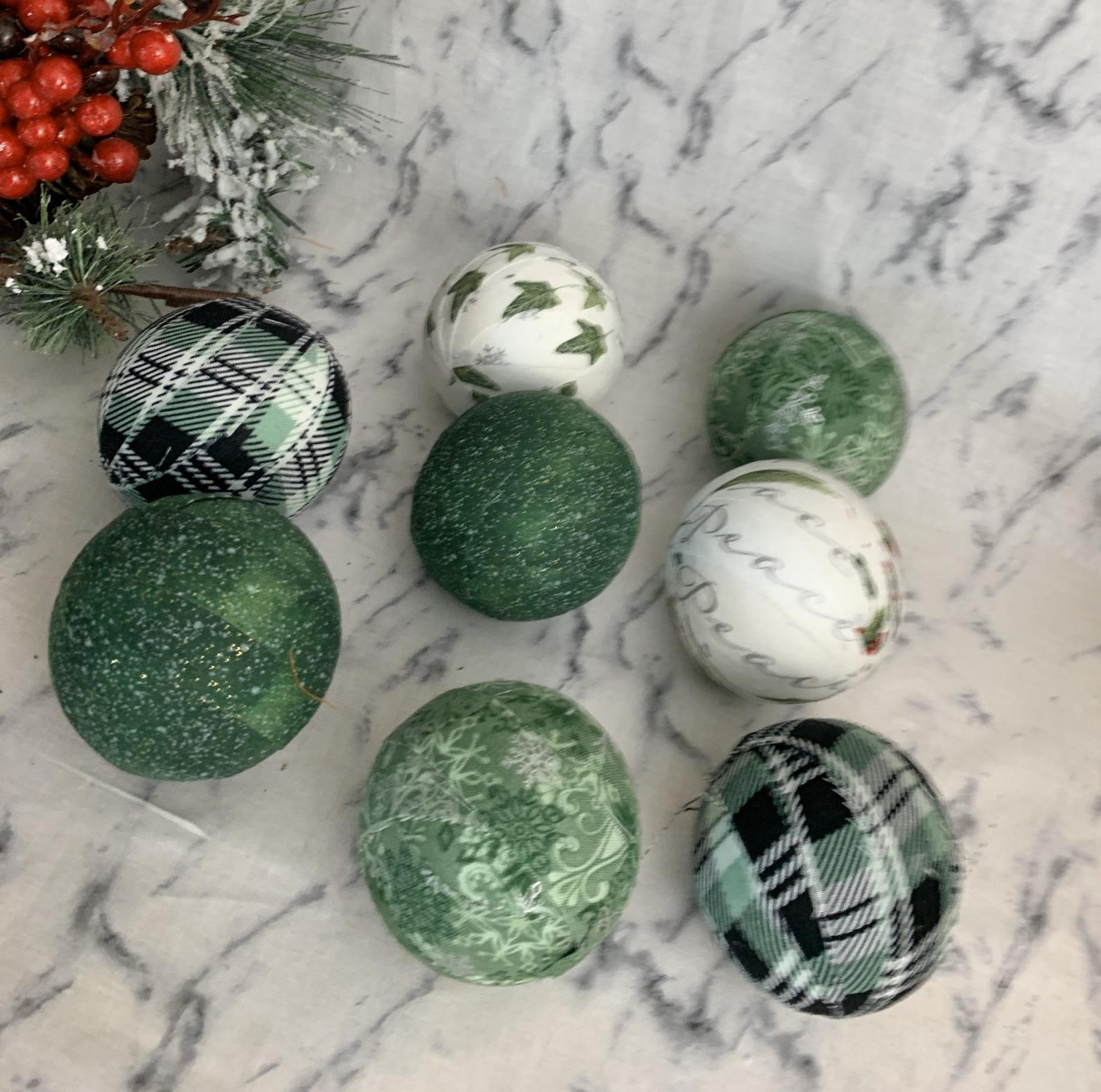 Christmas Greens Fabric Wrapped BAlls- Bowl Filler Set Of 8