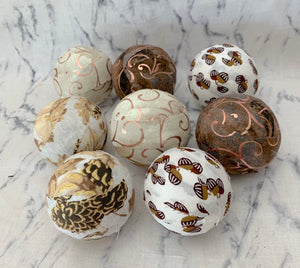 Pinecones and Acorns fabric wrapped fall orbs- thanksgiving bowl filler set of 8