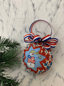 Patriotic Winter Snowman Christmas Fabric Quilted Ornament