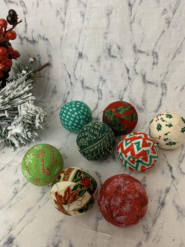 Christmas fabric wrapped rag ball bowl filler- various set of 8