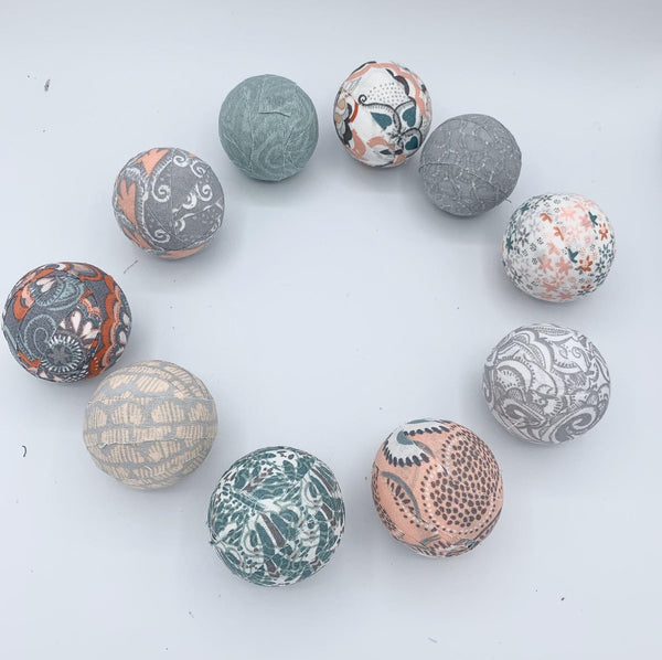 Green Peach Grey White fabric wrapped balls - set of 10 - spring