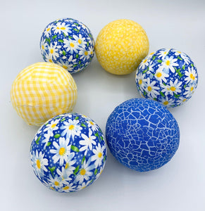 Blue and Yellow Daisy Flower fabric wrapped balls- summer bowl filler orbs set