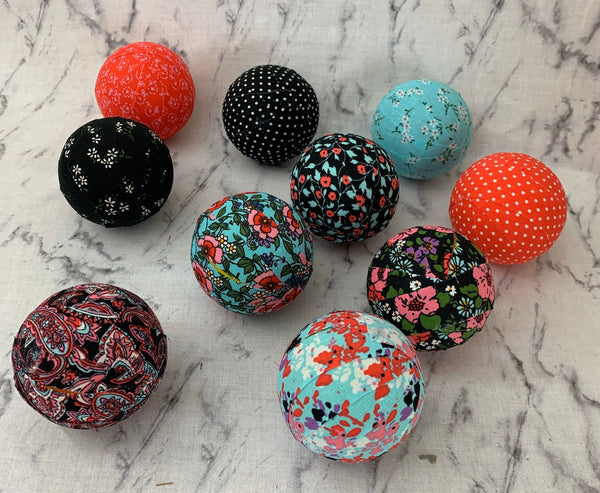 Summer Flowers fabric wrapped balls- bowl decor