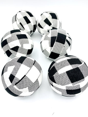 Black White Grey Check fabric wrapped balls- bowl filler farmhouse set