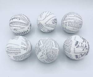 Newspaper / book fabric wrapped balls - set