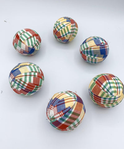 Plaid Summer Fabric Wrapped Balls - bowl filler