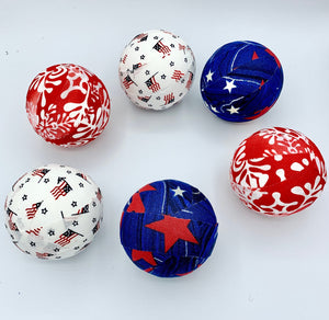 Red White Blue America fabric wrapped balls