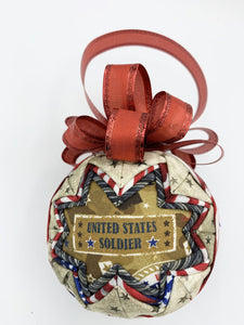 united states soldier fabric quilted ornament ball military