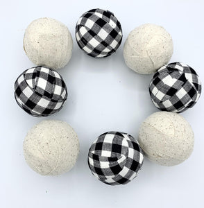 Burlap and Buffalo check fabric wrapped balls- set of 8 black snd white check