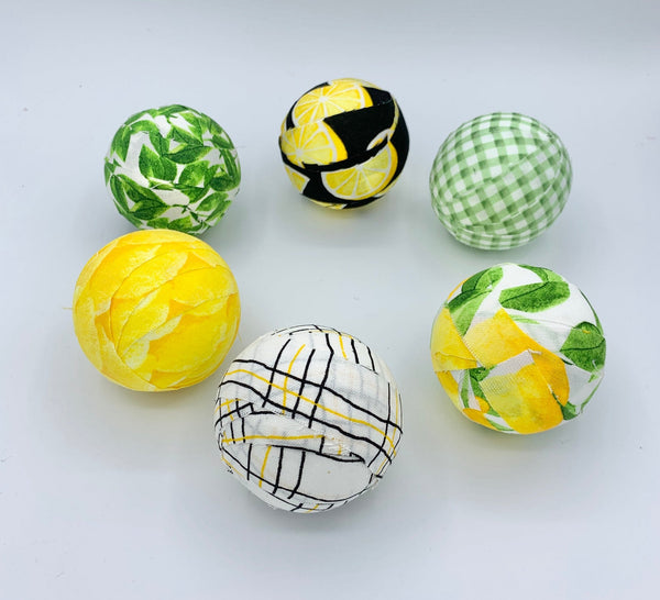 Lemon Lime summer fabric wrapped balls- set of 6