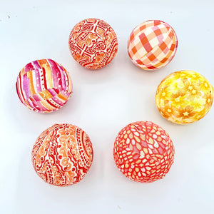 summer sunset fabric wrapped balls- orange, yellow, pink bowl fillers