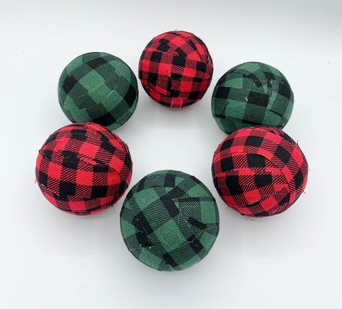red green black buffalo check combo fabric wrapped balls- bowl filler set of 6