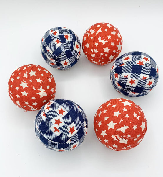 American Stars fabric wrapped balls- red, white, blue orbs set
