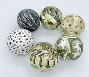 Army Miliatry Camo Fabric Wrapped Balls- set bowl fillers orb