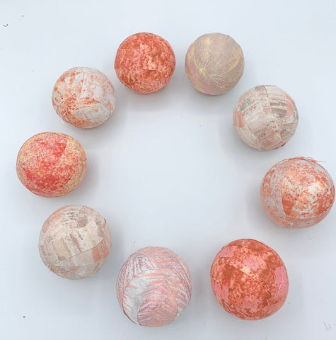 peaches n cream fabric wrapped balls- set of 9