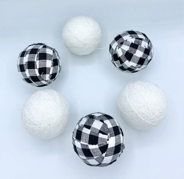 Black buffalo check and white holiday farmhouse fabric wrapped balls