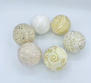 Gold and white fabric wrapped balls- home decor holiday trendy set