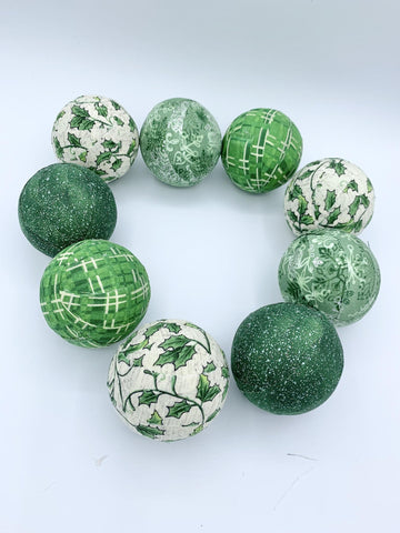 Winter Green fabric wrapped balls- holiday bowl filler set of 9
