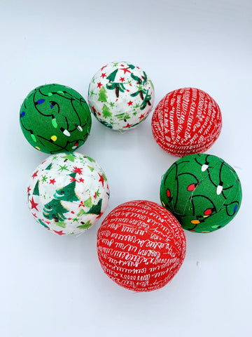Christmas Trees and Lights fabric covered balls- red green white bowl filler set