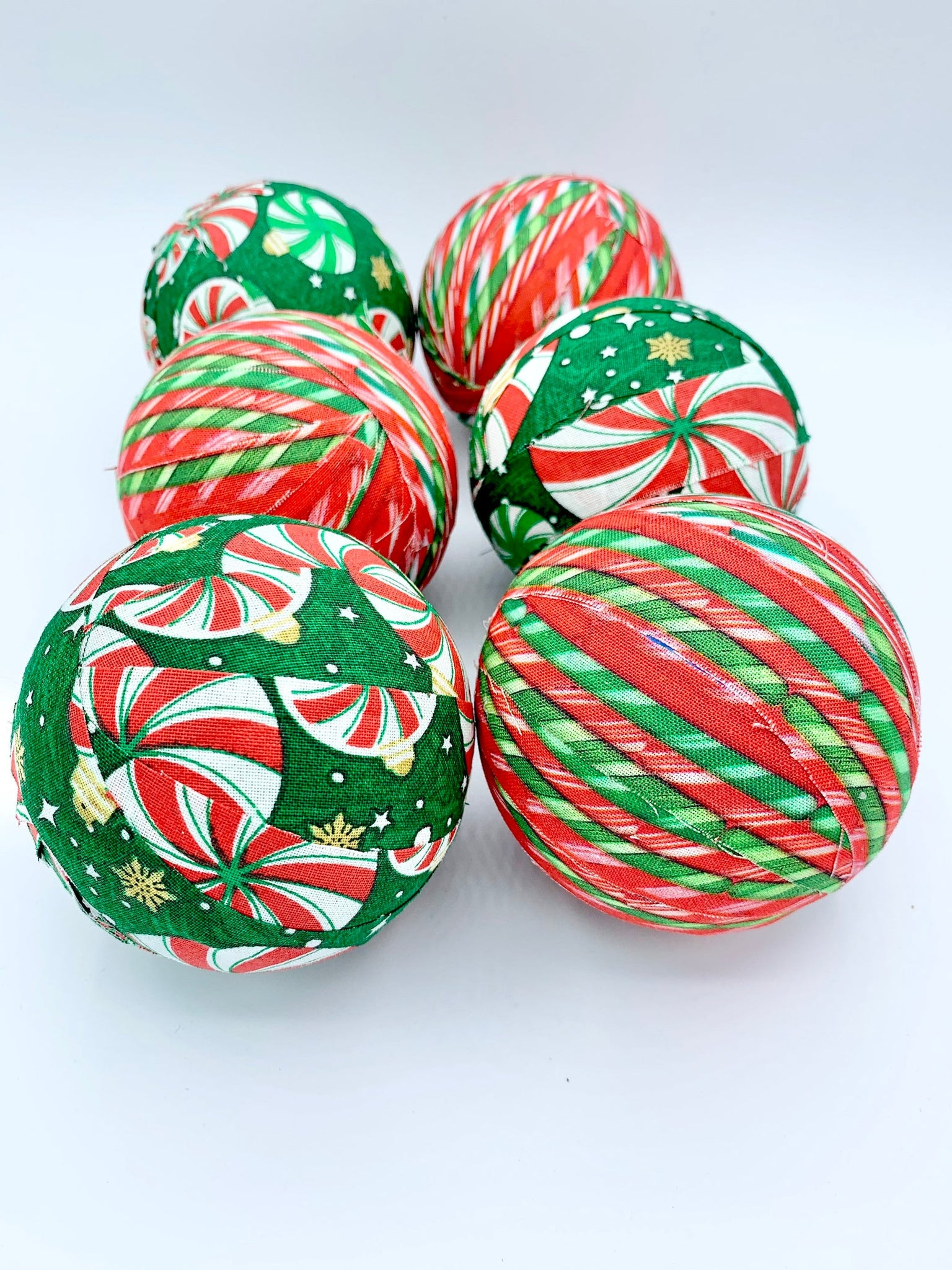 Candy Christmas fabric wrapped red green balls- holiday bowl filler decoration set