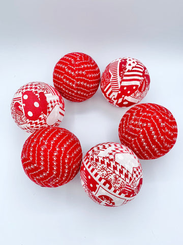 Red White Valentines heart and patches fabric wrapped balls - bowl filler set