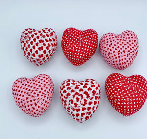 Red, White, Pink Hearts fabric wrapped bowl fillers- heart shape Valentine's day