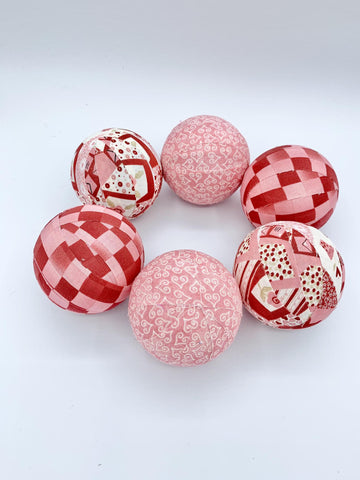 Dusty Rose Valentine's day fabric wrapped balls- holiday bowl filler orb set