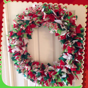 Whimsical Lime green/red Christmas Holiday wreath