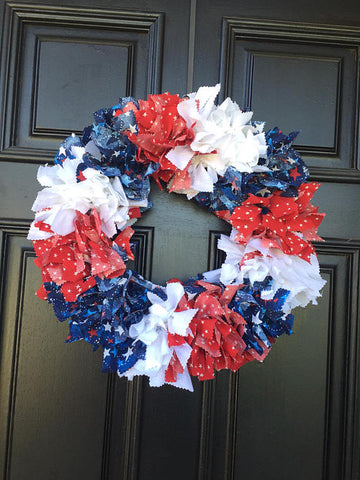 Proud To Be An American Rag Tie Wreath