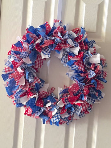 Red White Blue Rag Tie Fabric Patriotic Wreath