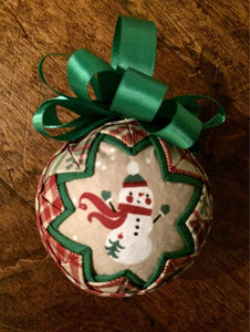 Snowman on Tan Fabric Quilted Ornament