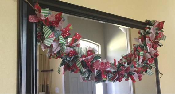 Red, Green, White Christmas Fabric garland